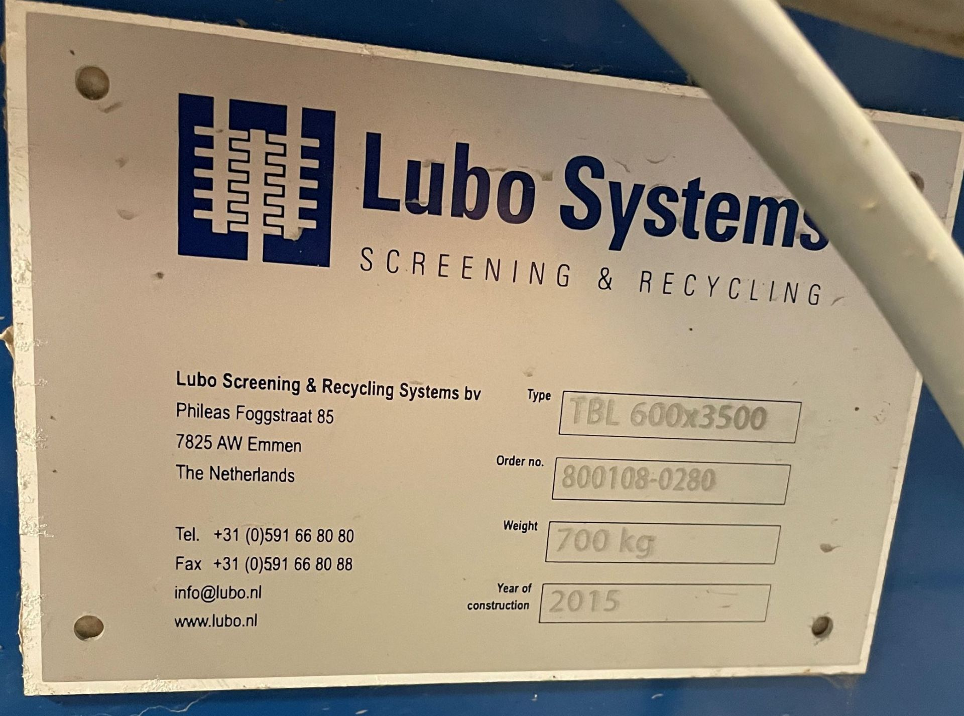2015 LUBO SYSTEMS TBL 600x3500 Inclined Belt Conveyor, s/n 800108-0280, 600mm x 3500mm, SEW 3.7 kW - Image 5 of 5