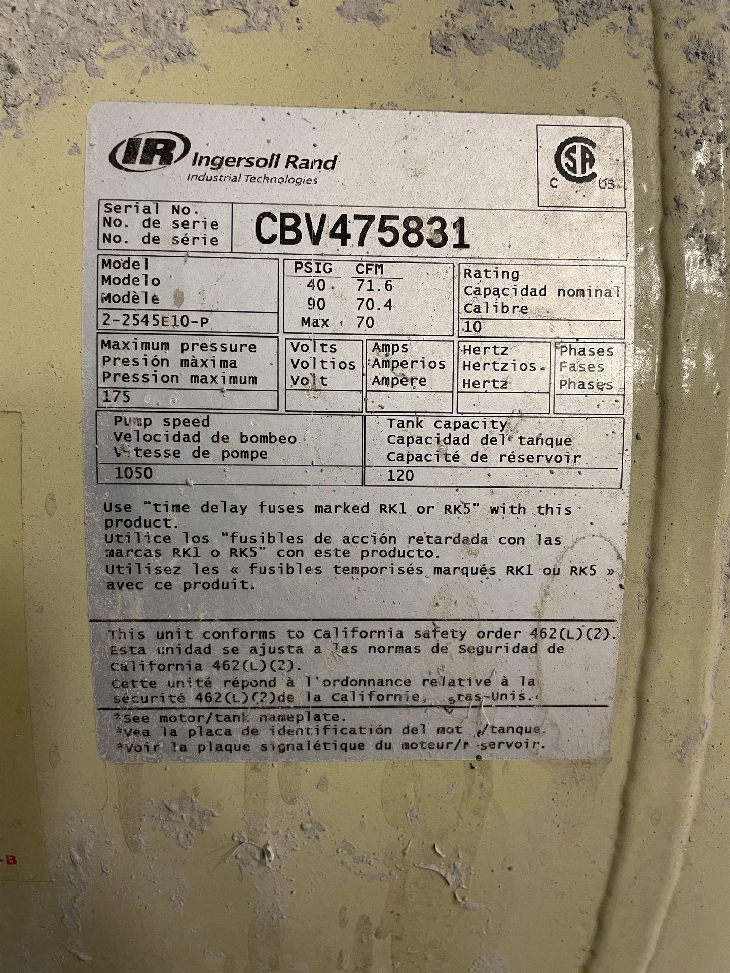 INGERSOLL RAND 2-2545E10-P 20-HP Air Compressor, s/n CBV475831 - Image 5 of 5