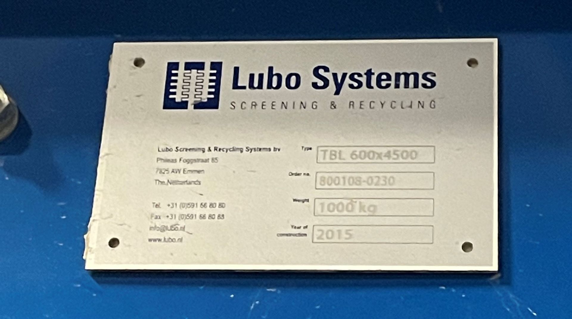 2015 LUBO SYSTEMS TBL 600x4500 Inclined Belt Conveyor, s/n 800108-0230, 600mm x 4500mm, SEW 3.7 kW - Image 5 of 5