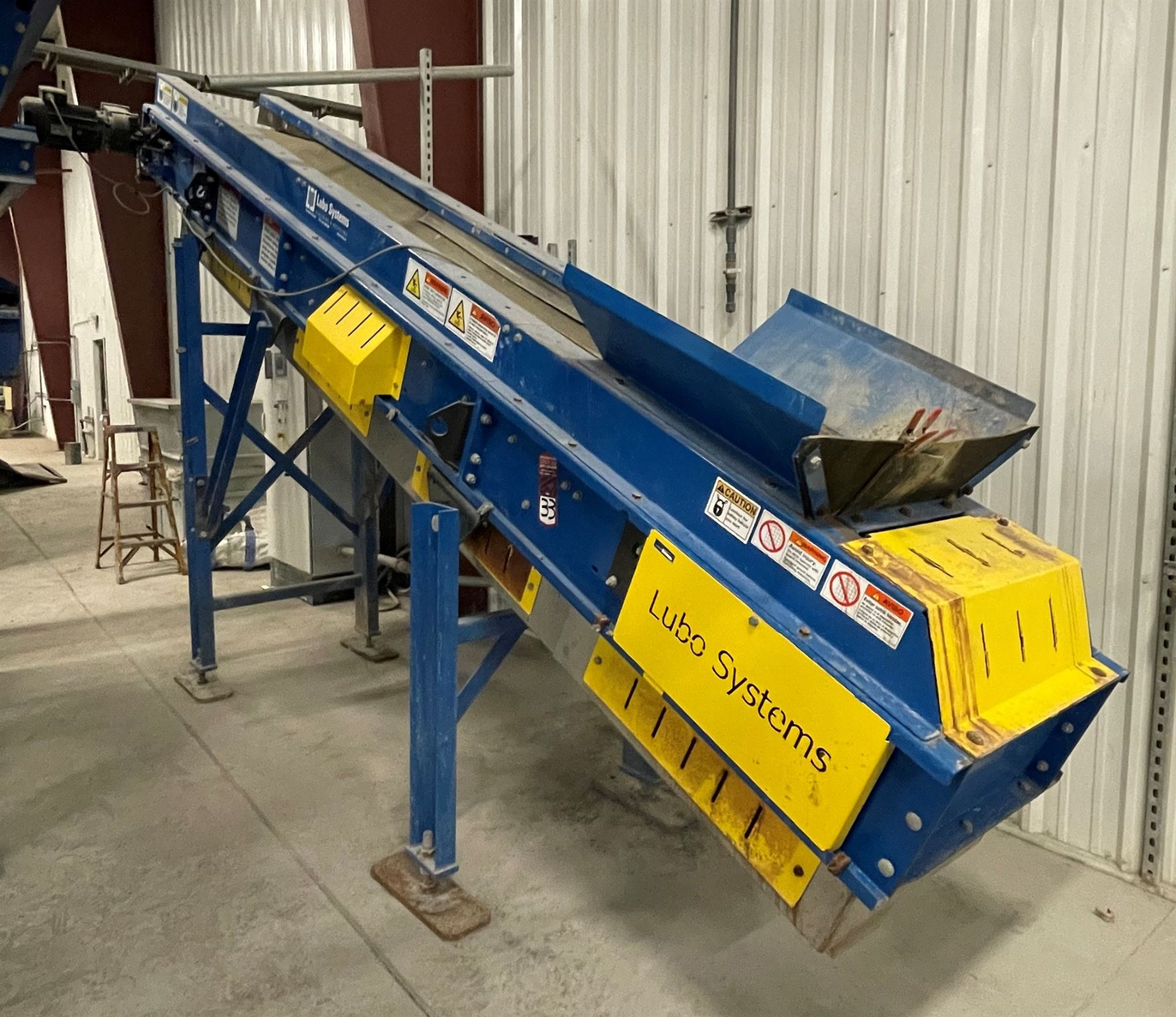 2015 LUBO SYSTEMS TBL 600x4500 Inclined Belt Conveyor, s/n 800108-0230, 600mm x 4500mm, SEW 3.7 kW