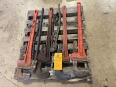 """Lot of (4) 60"""" Rigid Pipe wrenches and (2) Chain wrenches"""