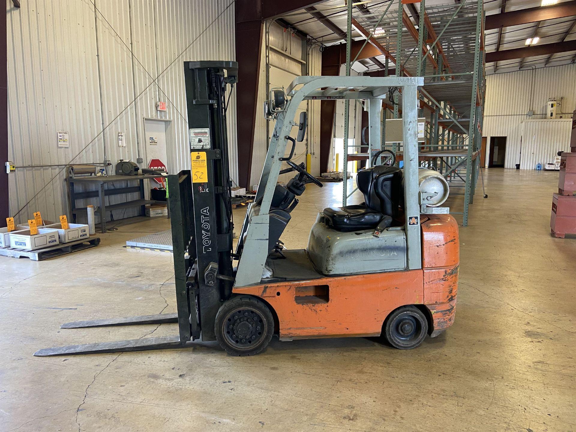 """Toyota Model 7FGCSU20 3700 Lb LP Forklift, 170"""" Lift, 3 Stage, 42"""" Forks, Side Shift, solid Tires,"""