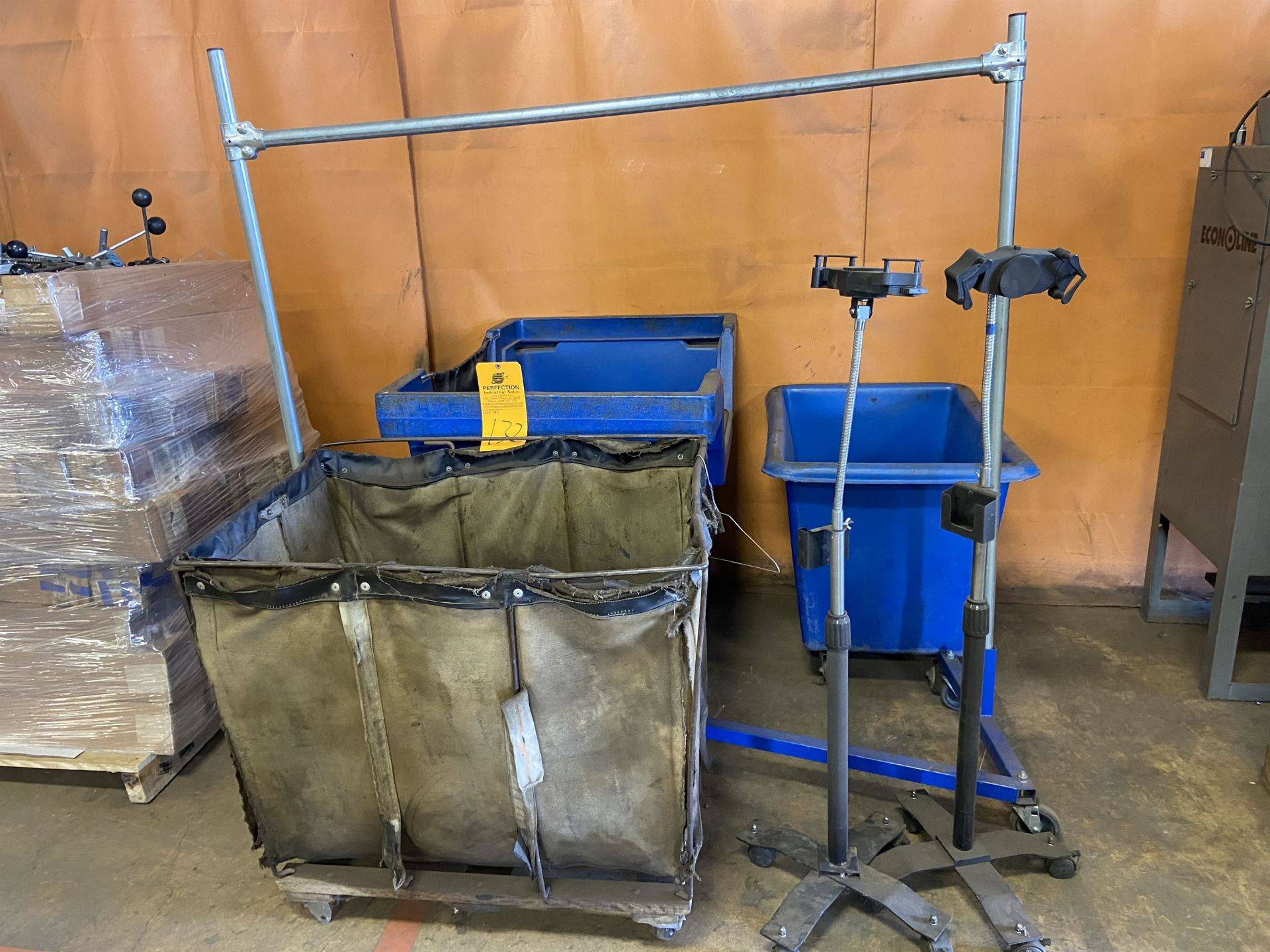 Lot of Laundry Baskets and Hanging Rack