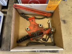 lot of Rigid Pipe Vise and Chain Wrench