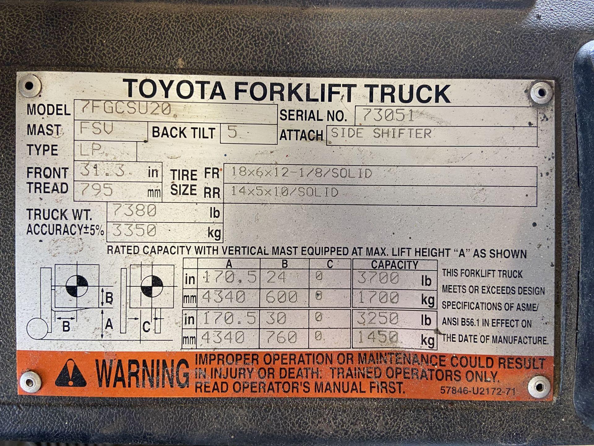 """Toyota Model 7FGCSU20 3700 Lb LP Forklift, 170"""" Lift, 3 Stage, 42"""" Forks, Side Shift, solid Tires, - Image 7 of 7"""