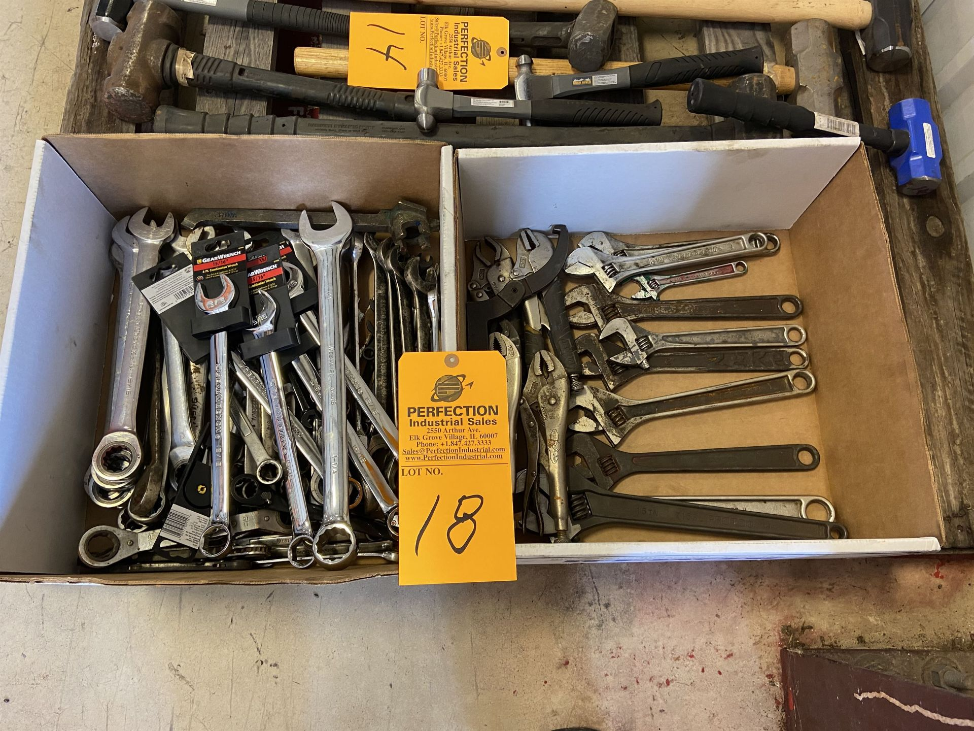Lot of (2) Boxes of Wrenches, Vise Grips and Adjustable Wrenches
