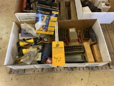 Lot of (2) Boxes of Marking stamps, Drills, Pliers, Gauges, etc.…