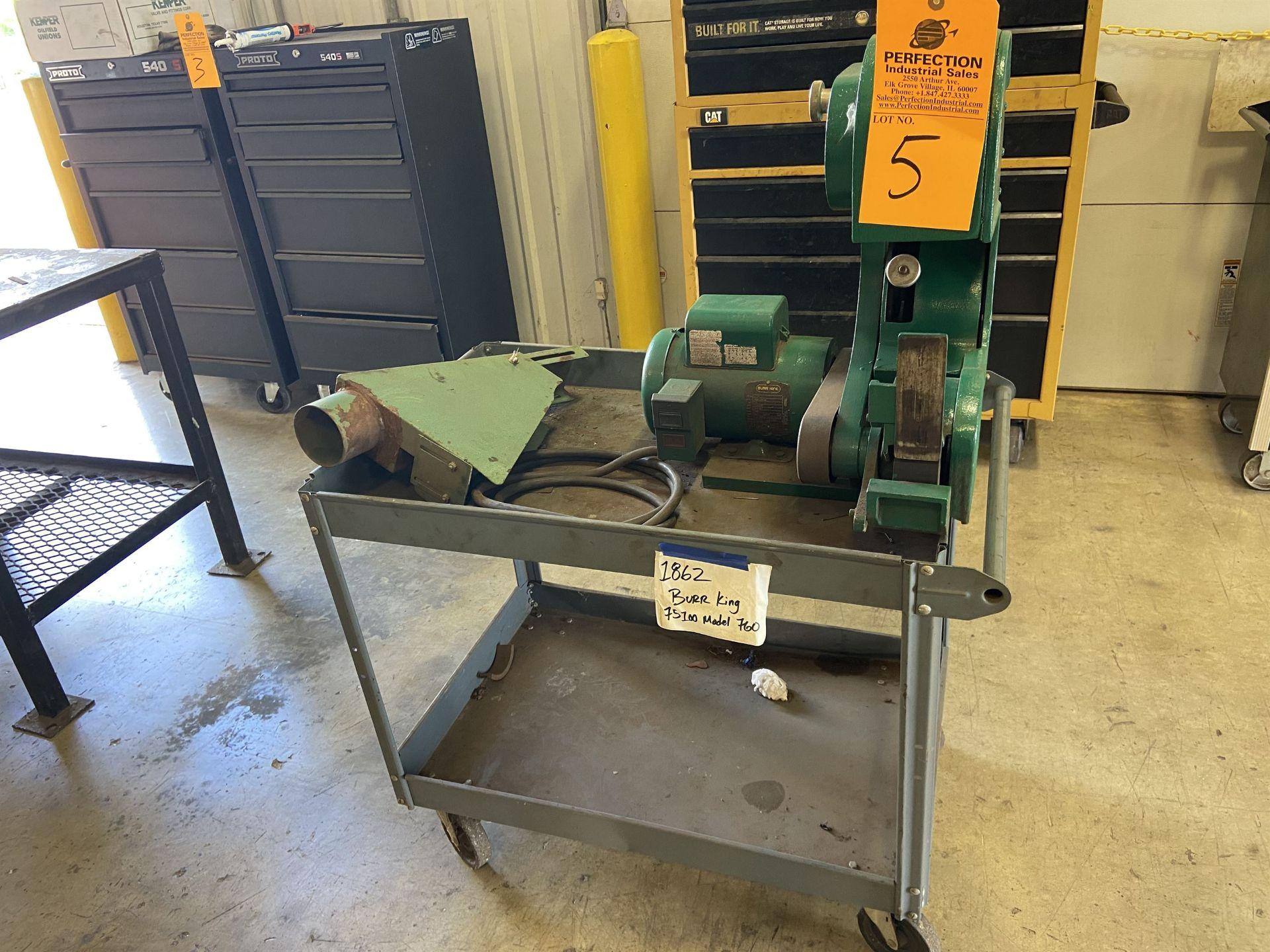 """Burr King Model 760 2"""" Belt Sander s/n K-28771 on Cart"""