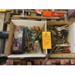 Lot of (2) Boxes of Pliers, Pry Bars, Vice rips, Etc.….