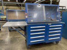 Dual STANLEY VIDMAR Tool Cart w/ STANLEY VIDMAR Peg Board Cabinet
