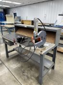 """Work Bench, 30"""" x 60"""" w/ 4"""" Bench Vise and Atlantic Air Tool Riveter"""