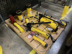 Lot Comprising Enerpac P392 and P80 Hydraulic Pumps Assorted Jacks