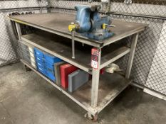 """Steel Table, 38"""" x 74"""" w/ 6"""" Bench Vise and Hardware Storage Bins"""