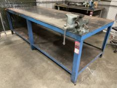 """Steel Table, 48"""" x 120"""" w/ 6.5"""" Bench Vise"""