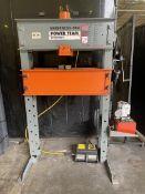 POWERTEAM 55-Ton H-Frame Press, w/ Powerteam Hydraulic Pump and Enerpac Pressure Control