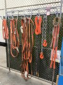 Wall Mount Rack w/ Assorted Rigging Slings and Chain