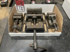 """Lot Consisting of (1) DAYTON 6"""" Drill Press Vise, (1) Stanely 3"""" Drill Press Vise, Uknown Make 2 1/"""