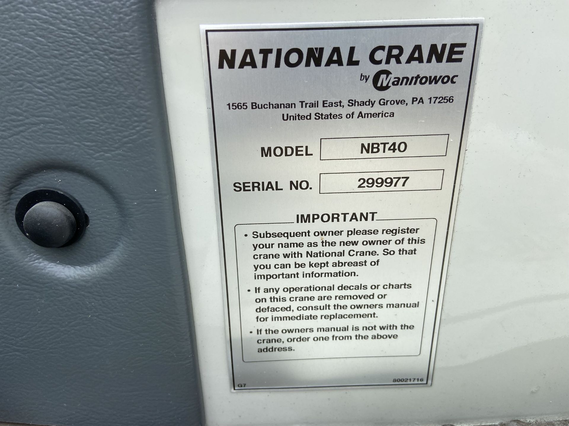 2014 NATIONAL NBT 40 Mobile Swing Truck Crane, s/n 299977, 3,266 Miles, 81.5 Hours - Image 29 of 35