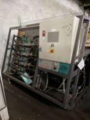 FLOW Waterknife 25X Intensifier Pump System, w/ (4) Flow High Pressure Intensifiers, Panelmate PLC