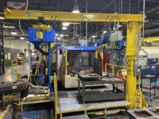1/2 Ton Floor Mounted Jib Crane, approx 14' Reach x 10' High, with Hoist. Crane # 0038 (Attention: