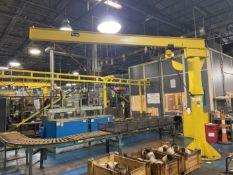 1/2 Ton Floor Mounted Jib Crane, approx 11.5 ' high x 16' reach with Hoist. Crane # 029 (