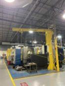 Gorbel 1 Ton Floor Mounted Jib Crane, powered rotation, approx 16' high x 16' reach with Hoist.