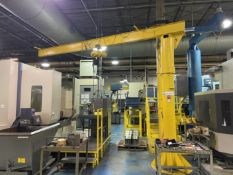 1/2 Ton Floor Mounted Jib Crane, approx 12' high x 17' reach with Hoist. Crane # 057 (Attention: