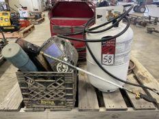 Lot Comprising Propane Tank w/ Torch, Welding Helmet and Welding Rod
