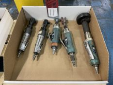 Lot of (3) Air Finishing Tools and (2) Pneumatic Ratchet Wrenches