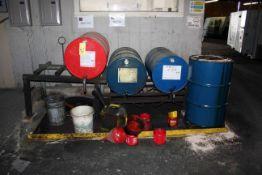 LOT OF 50 GAL. DRUMS CONSISTING OF: way oil, hyd. oil, perkote w/containment skid