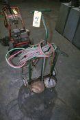 OXY / ACETYLENE TORCH BOTTLE CART, w/ hose, regulators & cutting torch