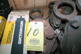"""LOT CONSISTING OF: (1) Enerpac hand pump, (2) suction guns, (2) 1"""" plate clamps, (3) 1-1/2"""" plate"""