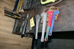LOT CONSISTING OF: (4) pipe wrenches, (2) C-clamps, (1) chisel scaler w/chisels, hammers, wrenches &