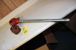 """LOT CONSISTING OF: Ridgid threader ratchet & handle for 12R die heads, with 3/4"""" & 1"""" 12R die heads"""