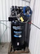RECIPROCATING VERTICAL AIR COMPRESSOR, EXCELL, 175 PSI, 80 gal. cap., 2-stage, cast iron, 5 HP
