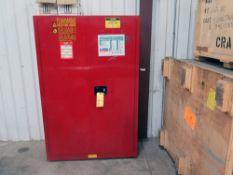 FLAMMABLE LIQUID STORAGE CABINET, ULINE H-1565 M-R, 45 gal. cap.