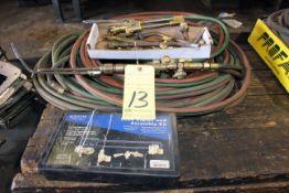 LOT CONSISTING OF: oxy/acet torches, regulators, hose & repair kit