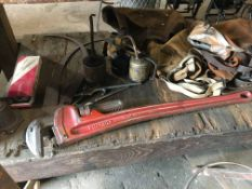 LOT CONSISTING OF: misc. tools, plastic air hose, air tools, files