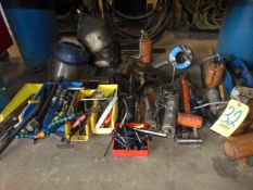 LOT OF HAND TOOLS, assorted (under one bench)