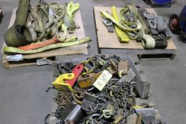 LOT CONSISTING OF: lifting clamps, chains & straps