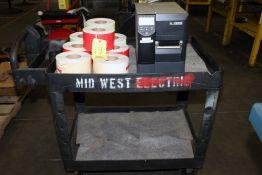 LABEL PRINTER, ZEBRA MDL. ZM400, w/labels & carts
