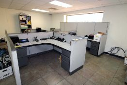 LOT CONTENTS OF UPSTAIRS AREA: (4) cubicles, approx. (13) chairs, cabinet (in bldg. 4)