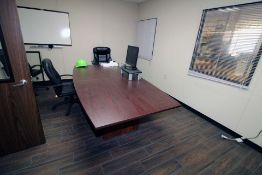 "LOT CONTENTS OF OFFICE: 48"" x 96"" conference table, chairs, monitors (TV not included)"