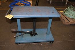 """HYDRAULIC LIFT TABLE, WESCO 1,000 LB. CAP. MDL. LT-10-1836, 18"""" x 36"""" table, 30.5 to 47.5"""" ht."""