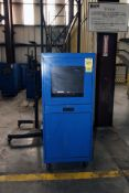 LOT CONSISTING OF: (3) Sandusky mobile security cabinets & (1) mobile TV stand