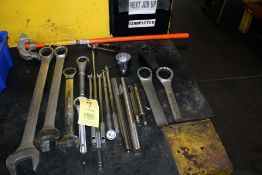 """LOT CONSISTING OF: open & closed end wrenches, 1/2"""" drive socket flex handles, tubing benders &"""