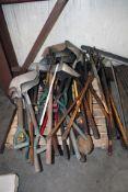 LOT CONSISTING OF: shovels, shaving forks & mats