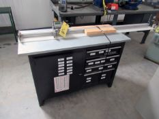 """LOT OF DIGITAL PART LENGTH MEASURING SYSTEMS (2), w / toolbox & roller conveyour, 70"""" & 79"""" Lika"""