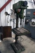 """DRILL PRESS, CLAUSING MDL. 2277, 20"""", T-slotted tbl. & base, 1.5 HP, S/N 529131 (Location 11: Abbott"""