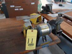 ELECTRIFIED WOOD TOP WORKTABLE, w / Baldor dbl. end grinder & Somma Deburr machine (Location 2: JE